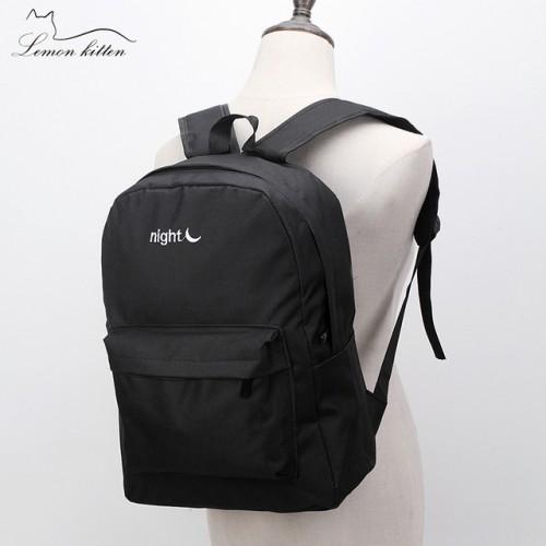 Lemon Kitten Japanese Solid Canvas Backpack School Bag Backpack For Women Teenage Girl Mochila Escolar Student Rucksack