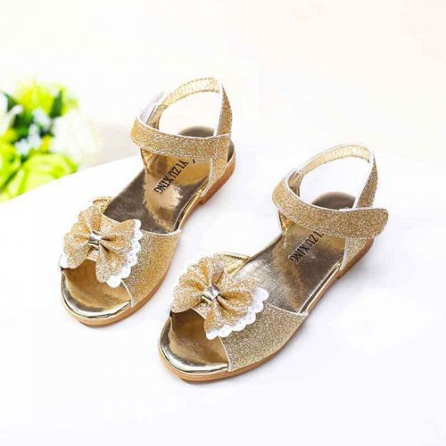 Children's Shoes Crystal Bow Shiny Princess sandals Hot Sale summer New Girls open-toed Sandals 3 colors shoes for Kids