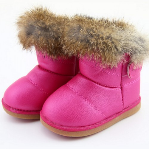 Winter Wool Cloth With Soft Nap Of Rabbit Hair Fur Rubber Soles Children