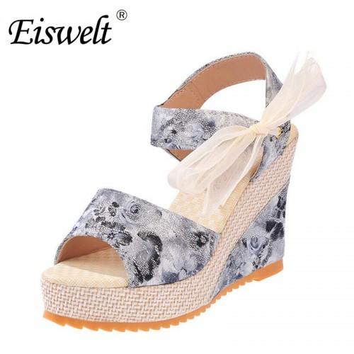 3d26f4d92c62 Eiswelt 35-40 Fashion Summer Wedges Women s Sandals Platform Lace Belt Bow  Flip Flops Open Toe ...