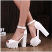 Free shipping 12CM 2016 summer style Sexy Open Toe High Heel Sandals Thick Heel Sandals Hasp Fashion Platform Women Shoes High