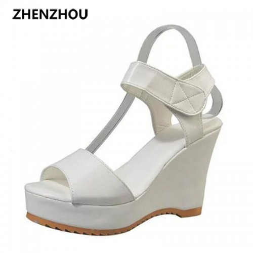 Free shipping Women's shoes 2017 summer waterproof high-heeled sandals wedge fish mouth contracted female sandals