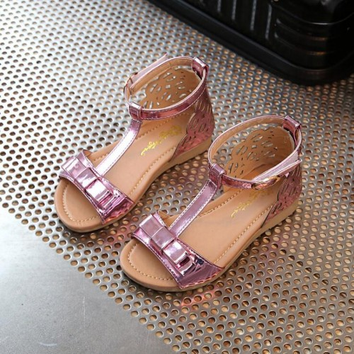 Girls Sandals Peep Toe Bowtie Princess Sandals Kids Party Shoes For Girl Size 21-36 Children Summer Shoes