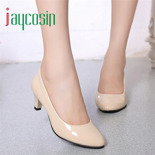 High quality Nude Shallow Mouth Women Office Work Heels Shoes Elegant Ladies Low Heel 170210