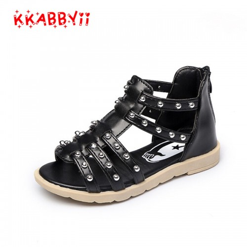KKABBYII Black Girls Sandls Rivets Gladiator Sandals