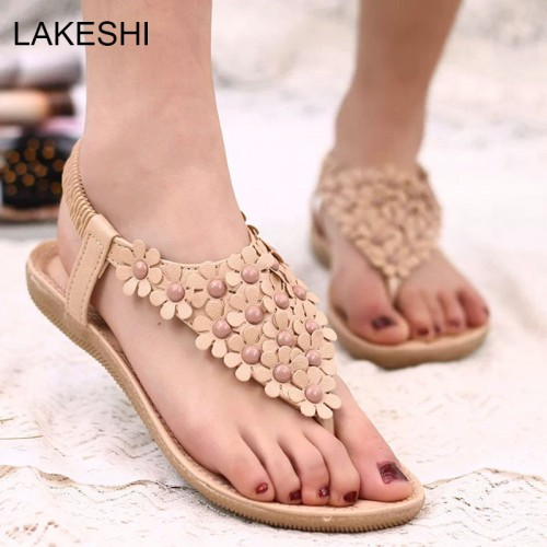 LAKESHI Beading Women Sandals 2017 Summer Sandals Women Flats Sandals Ladies Shoes