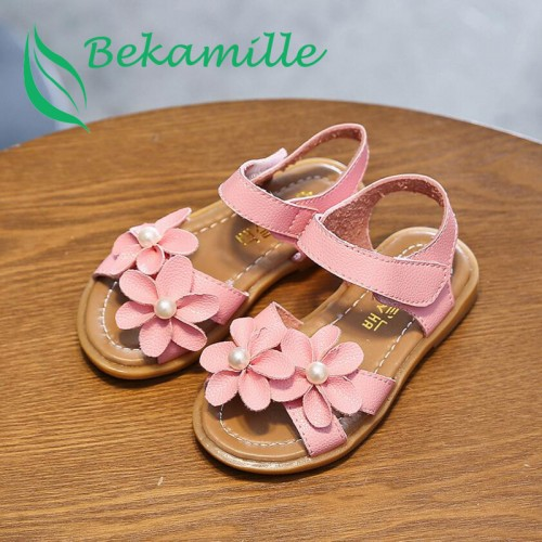 Bow pearl opened-toe flower soft bottom beach sandals