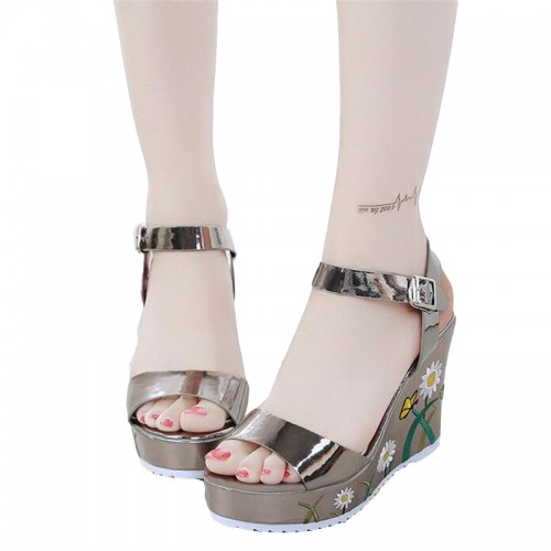 Ultra high and embroidered color wedge heel sandals thick bottom waterproof