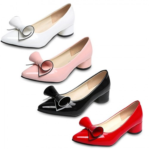 Women Low Heel Wedding White Shoes Leather Office Pumps Shoes Pointed Toe