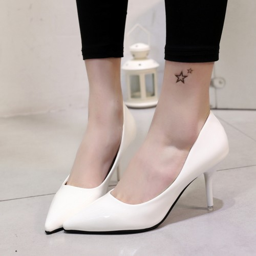 Wedding Shoes Pointed Toe Thin Heeled Pumps High Heels Silver Boat