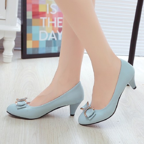 bow sexy high heels Party Thick large size  Woman shoes
