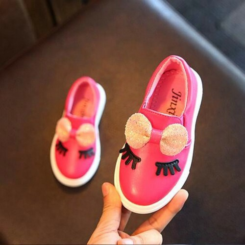 Girls sneakers spring 2017 new toddler children's baby white bowknot glitter casual soft flat shoes kids chaussure enfant
