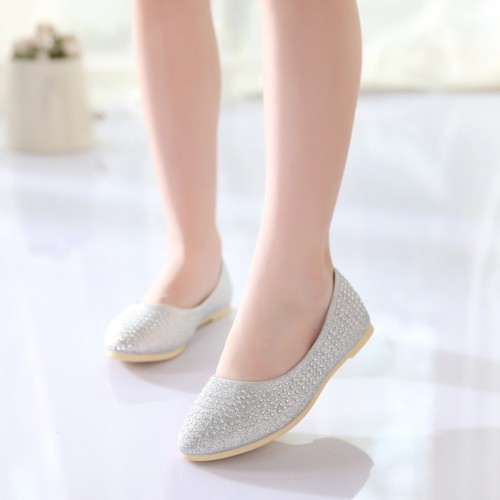 J Ghee Wedding Party Girls Shoes Kids Princess Big Girl Children Dress Shoes With Rhinestone Sweet Flat PU Leather Shoes Loafers