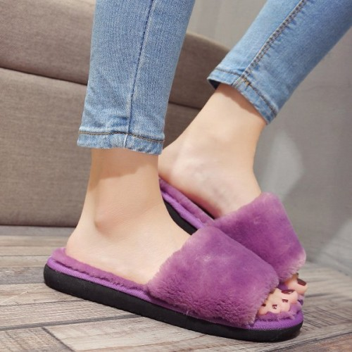 Faux Fur Slippers - Purple