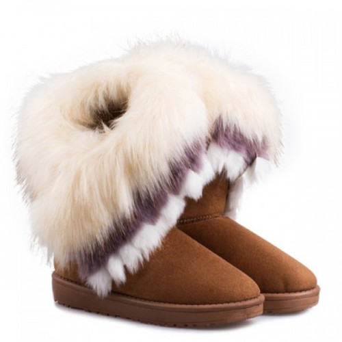 Furry Trim Ankle Boots Soft Snow Boots Warm Mid-calf Boots