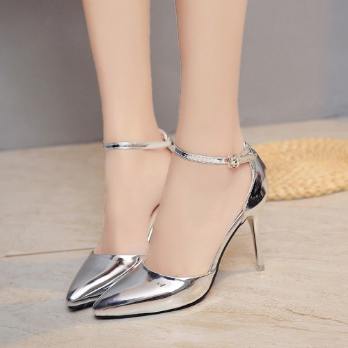plus size 40 Women thin High heels Dress Shoes Woman Wedding Gold Silver Shoes Pointed Toe Ankle Buckle Sexy Pumps a001