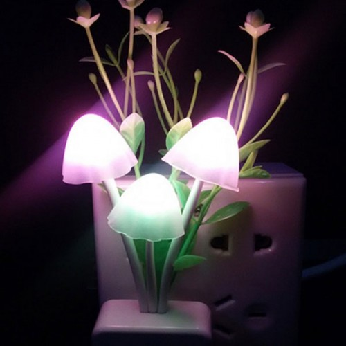 Romantic Colorful Grass Mushroom Sensor LED Night Light Wall Lamp US Plug