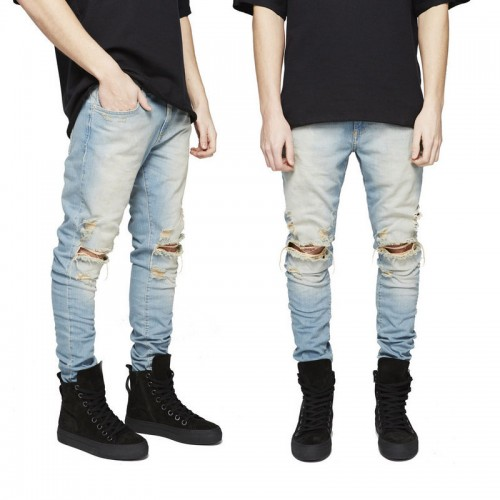 2017 Fashion Mens Pleated Distressed slim fit Jeans Skinny Ripped Denim Pants Casual Hole Pencil Jeans