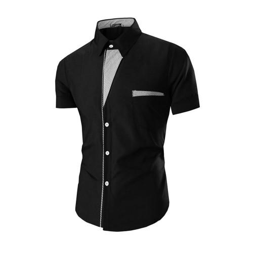 2017 New Mens Short Sleeve Shirts Casual Formal Slim Fit Shirt Top