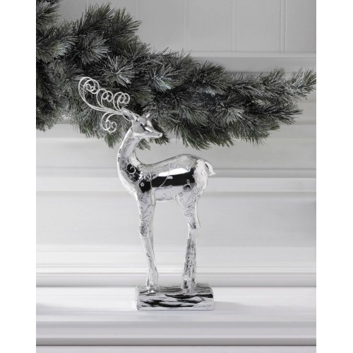 Silver Dancer Reindeer Statue