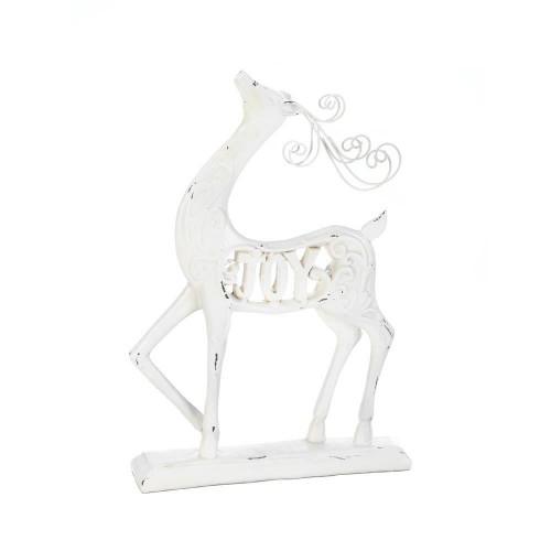 White Joy Reindeer Figurine