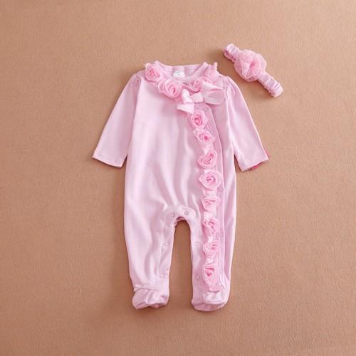 0-7M Cute Pink Flower Long Sleeve Newborn Baby Girls Footies Headband
