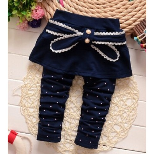 (1piece /lot) 100% cotton 2016 Polka Dot bow pant for baby girl