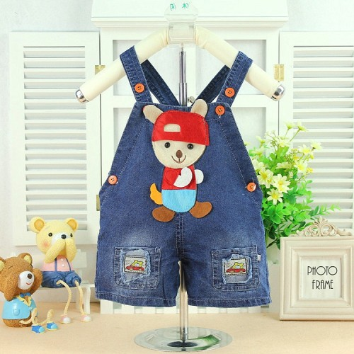 2015 Baby clothing New Summer baby boys overall short soft denim cloth infant overalls shorts B054
