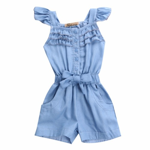 2016 New Fashion Kids Girls Overalls Jean Short 0-5Y Toddle Baby Girl Cute Sleeveless Romper Child Clothes