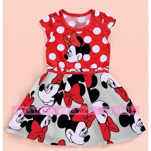 2016 New Summer Girls Dress Tutu Princess Baby Mickey Minnie Mouse Dress Dot Baby Casual Paty Dress for 2-6 Years Kid Dress
