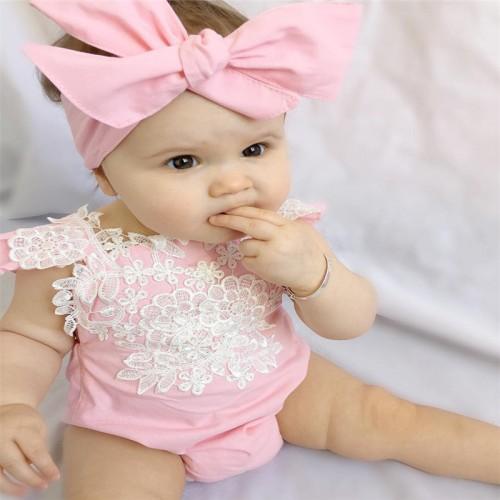 2016 Newborn Infant Baby Kids Girls Lace Lovely Floral Romper Jumpsuit Outfits Set Sunsuit 0-18M
