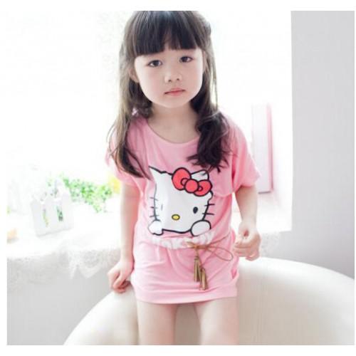 2016 baby girls summer wear cotton pink kids t-shirt Cartoon KT cat pattern baby girls T-shirt Pink short-sleeve t-shirt Kids
