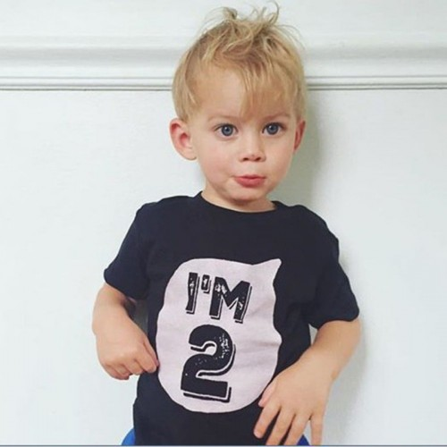 2017 0-6 years Baby Boys Girls T-shirt Children Letter Birthday Age Printed High quality Cotton Blends Summer Shirts for Kids