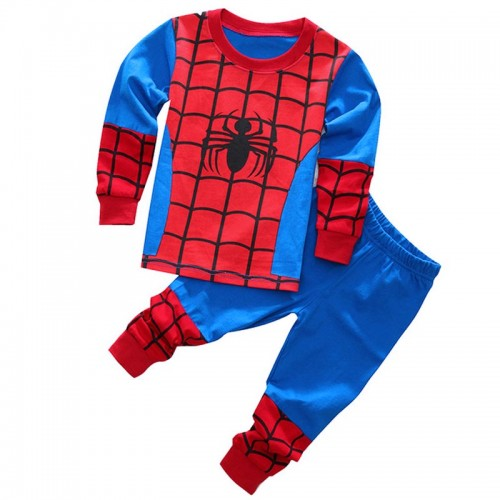 2017 Baby Boys Cotton Nightwear Set Children Cute Cartoon Spider Man Pajamas Suit 2pc Long sleeved T-shirt+ Pants Kids Sleepwear