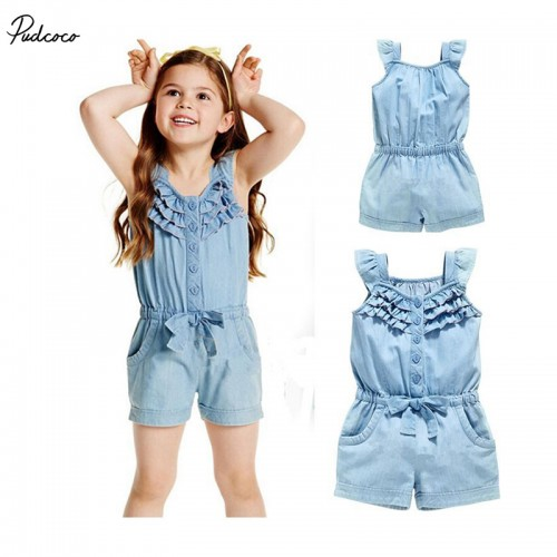 2017 Hot Solid Overalls Kids Baby Girl Casual Clothing Denim Blue Washed Jeans Sleeveless Bowknot jumpsuit Clothing