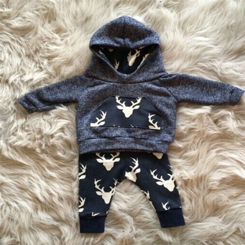 2017 Hot baby Autumn new baby boy clothes Children Baby Infant Baby Boy Girl Warm Deer Hoodie Top+Legging Pant Outfits Set 0-18M