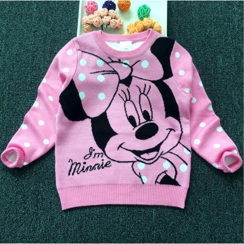 2017 Spring Brand New Kids girl Cartoon Minnie Cashmere Sweater Coat Children Clothing Baby girls Polka Dot Pullover Sweater