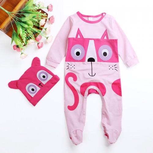 2017 cute baby girl clothes newborn children infant baby cartoon animal pattern Siamese Romper cotton jumpsuit climb clothes