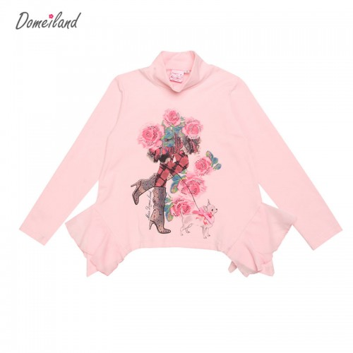 2017 spring Collar brand domeiland Baby Girl Clothes Long Sleeve Floral Ruffle ChiffonT-Shirts Basic Cotton Knit Tops Clothing