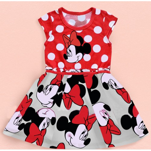 2o17 Summer New Girls Polka Dot Mickey Mouse Minnie Cartoon Printed Dress Cute Red Short Sleeve Child Kids Dress Baby Clothes