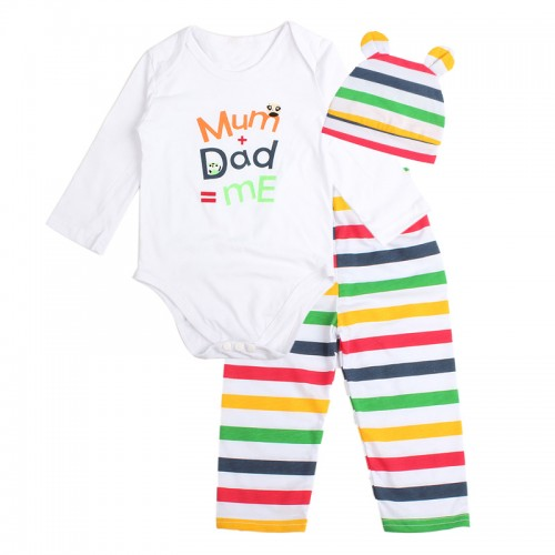 3PCS Rompers Hat Pants Baby Boys Girls Clothing Set