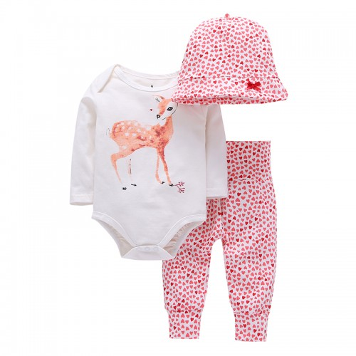3Pcs Baby Girl Clothes Sets   Deer Cotton Bodysuits
