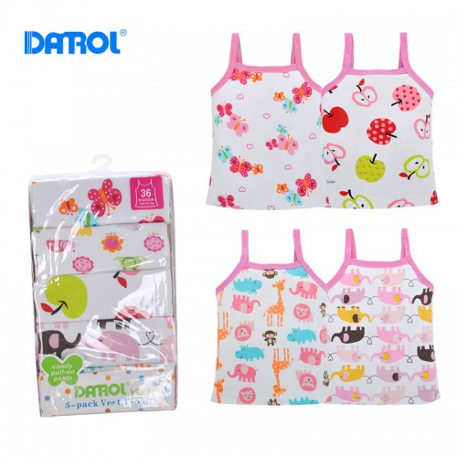 6-24M 5 Pcs/lot Cotton Sleeveless Top Tees For Girl Baby