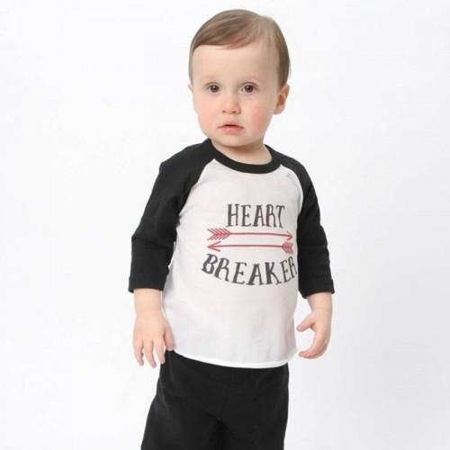 Autumn Boy T shirt 2017 Heart Breaker Letter Arrow Boys Long sleeve