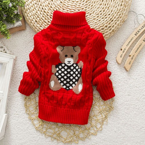 Autumn Winter Pullover Cartoon Cute Bear Sweaters Knitwear Children