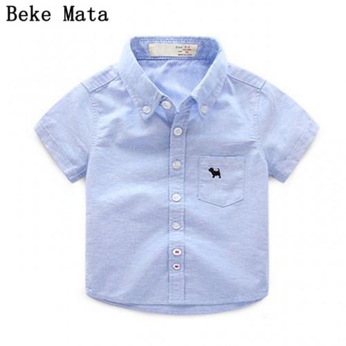 BEKE MATA Baby Boy Shirts For Children 2017 Summer Short Sleeve Shirts Fashion Solid School Kids Boy Shirt Toddler Boy Blouses