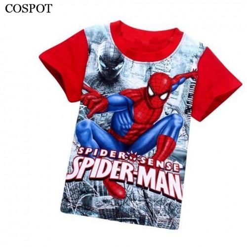 Spider-man  Short-sleeved Spider Man T-shirt Kids Cotton