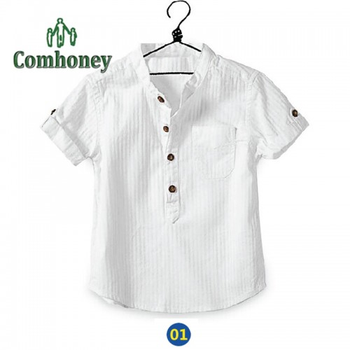 Boys Shirts Summer Baby White Shirt Cotton Short Sleeve Blouse for Kids Casual Solid School Shirt for Teenager Child Costume