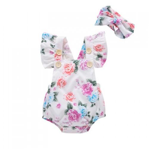 028516a227ba COSPOT Baby Girls Floral Romper + Headband Summer Clothes for Newborn  Newborns Girl Ruffle Sleeve Jumpsuit ...