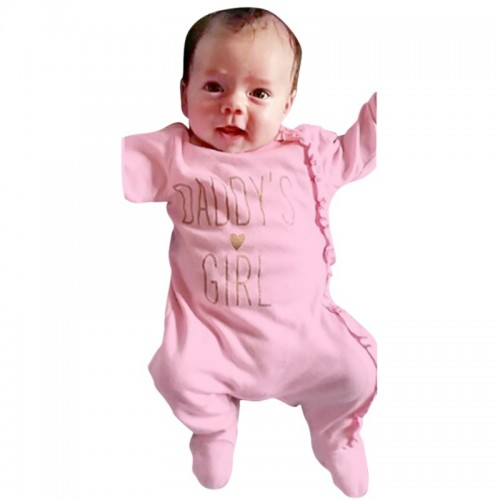 Cute Newborn Baby Girls Footies Letter Print One-piece Girl Costumes Baby Clothes PL6